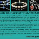 My 'Jewelry Care'  card I developed for customers.