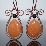 Red Aventurine and Black Obsidian copper earrings